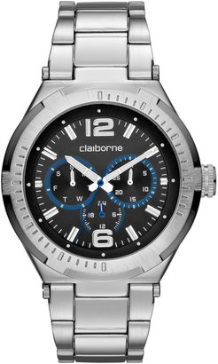 Claiborne Mens Silver-Tone Chronograph Watch
