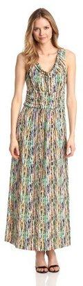 Chaus Women's Banded Waist Confetti Stripe Maxi Dress
