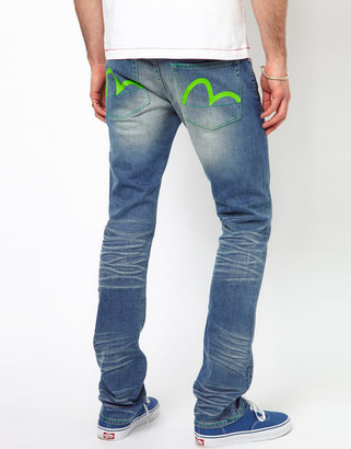 Evisu Jeans Katsumi Slim Fit Neon Combo Sulphur Light Wash