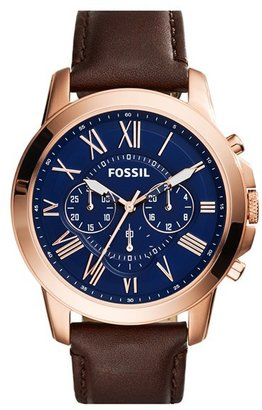 Fossil 'Grant' Round Chronograph Leather Strap Watch, 44Mm $145 thestylecure.com