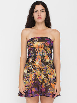 American Apparel California Select Original Butterfly Print Tie-Up Mini Dress