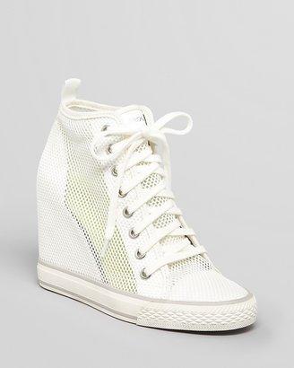 DKNY High Top Wedge Sneakers - Grommet Mesh