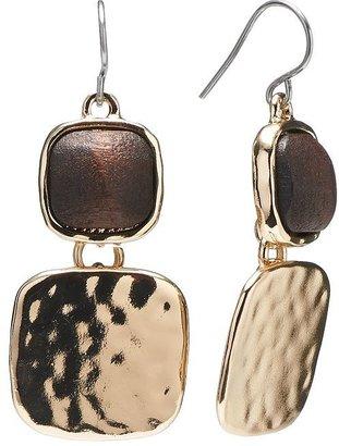 Dana Buchman gold tone cabochon hammered drop earrings