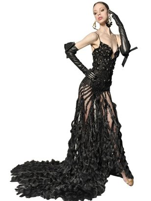 DSquared Rabbit Trim Swarovski Tulle Long Dress
