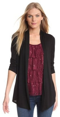 Amy Byer Women's Twofer Long Sleeve Novelty Top with Tiered Lace Inset