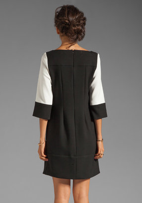 Shoshanna Double Crepe 2 Combo Vicki Dress in Winter White with Black