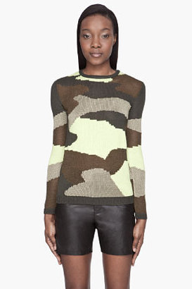 McQ by Alexander McQueen Green Camouflage knit sweater