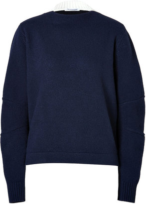 J.W.Anderson Boiled Wool Boat Neck Pullover Navy