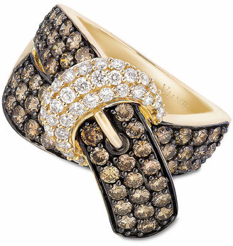 LeVian Le Vian Chocolate Diamond (2-1/6 ct. t.w.) and White Diamond (3/8 ct. t.w.) Buckle Ring in 14k Gold