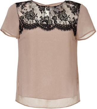 Collette Dinnigan Nude/Black Lace/Silk Top