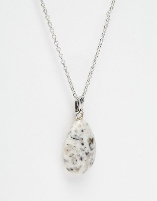 Asos Semi Precious Silver Long Pendant Necklace