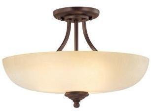 Tumbleweed Filament Design 3-Light Burnished Bronze Semi Flush Mount with Glass