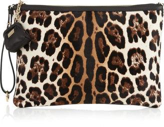 Dolce & Gabbana Leopard-print calf hair and sequined clutch