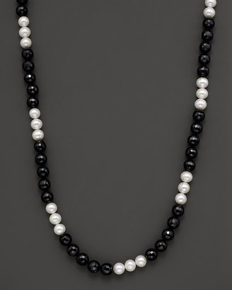 """Freshwater Pearl and Black Onyx Necklace, 36"""""""
