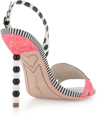 Webster Sophia Twinkle Toes Glitter Sandal, Coral/Black/White