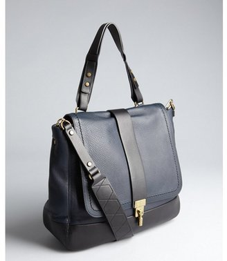 Lanvin black and navy leather shoulder bag