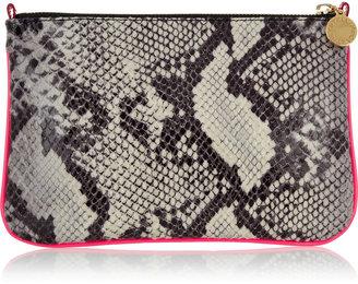 Stella McCartney Neon-trimmed faux python clutch
