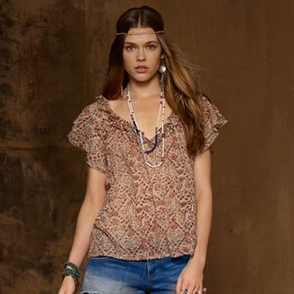 Denim & Supply Ralph Lauren Floral Cotton Ruffled Top