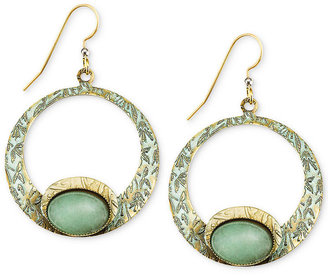 Silver Forest Earrings, Gold-Tone Floral Textured Green Open Hoop Earrings