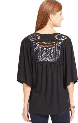 Style&Co. Plus Size Short-Sleeve Lace-Back Cardigan