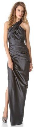 Vera Wang collection Sleeveless Asymmetrical Gown