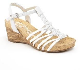 Kenneth Cole Reaction Swirl Up Faux-Leather T-Strap Wedge Sandals