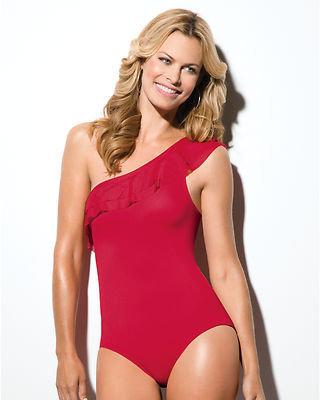 Spanx Brand Women's Sheer One Shoulder One Piece Swim Suit 663