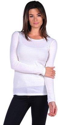 Majestic Long Sleeve Cotton/Cashmere Crewneck
