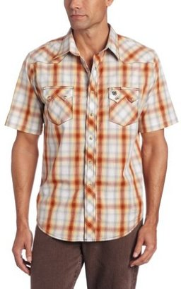 Wrangler Men's Poplin Plaid Short Sleeve Western Jean Shirt
