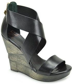 Diane von Furstenberg Opal - Leather Wedge Sandal in Black