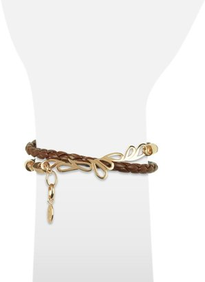 Sho London Mari Fiendship Rose Gold Plated & Leather Double Bracelet