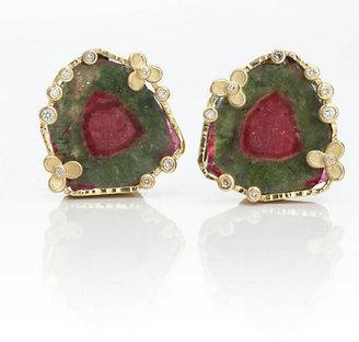 Gump's Barbara Heinrich Watermelon Tourmaline & Diamond Earclips