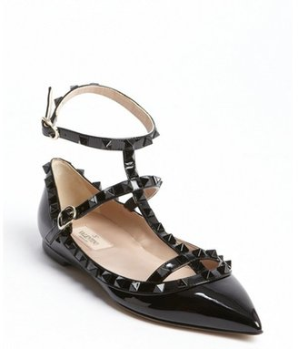 Valentino black patent leather studded detail ankle strap flats