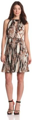 Vince Camuto Women's Printed Pleated Halter Dress