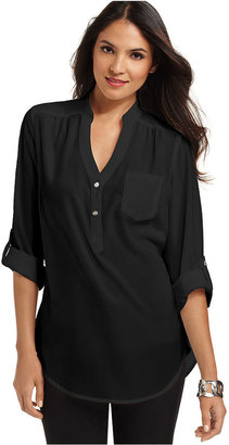 Amy Byer Shirt, Roll-Tab-Sleeve Blouse