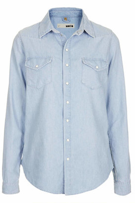Topshop Moto fitted chambray shirt