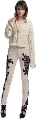 Versace Contrast Lace Panel Jeans