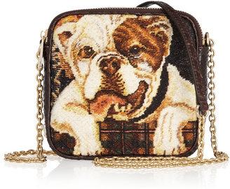 Dolce & Gabbana Bulldog tapestry and python shoulder bag