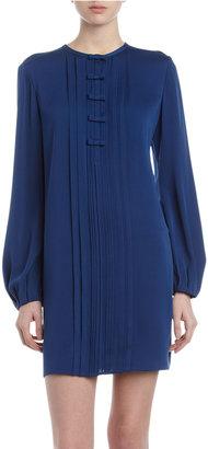 Diane von Furstenberg Novalee Pleated Bow Dress, Heron Blue