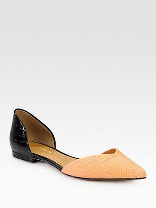 3.1 Phillip Lim Devon d'Orsay Textured Leather & Patent Flats