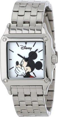 Disney Women's W000858 Square Steel Mickey Mouse Silver Tone Bracelet Strap Watch