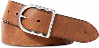 Polo Ralph Lauren Men Accessories, Distressed Leather Centerbar Buckle Belt