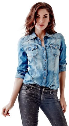 GUESS Slim-Fit Denim Shirt in Fiddle Wash $79 thestylecure.com