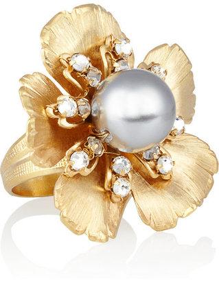 Swarovski Bijoux Heart 24-karat gold-plated crystal pansy ring