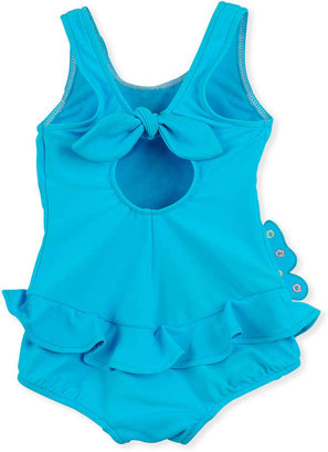 Florence Eiseman Butterfly Social One-Piece Swimsuit, Turquoise, 12-24 Months