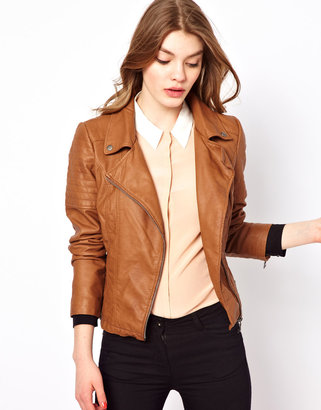 Oasis Leather Look Jacket With Biker Details