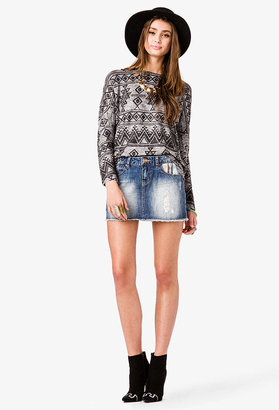 Forever 21 Tribal Print Patchwork Denim Skirt
