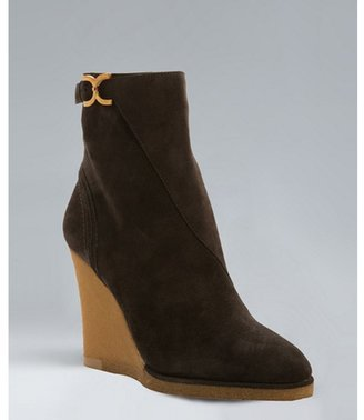 Chloé asphalt suede buckled wedge boots