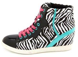 Charlotte Russe Printed Hi-Top Wedge Sneaker