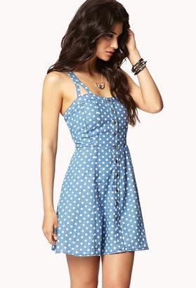 Forever 21 Polka Dot Chambray Dress